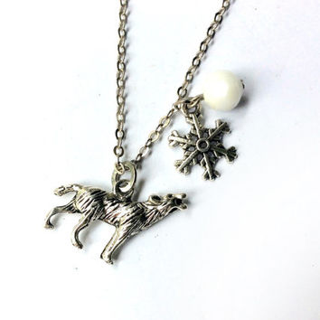 Jon Snow necklace: direwolf and snowflake charms with snow white crystal bead