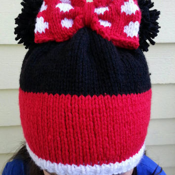 Hand Knit Minnie Mouse Inspired Hat Fits Adult and Children 10+