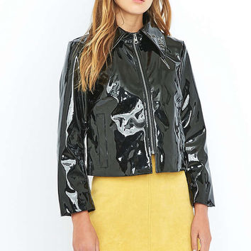 Cheap Monday Prize Black Patent Faux-Leather Biker Jacket - Urban Outfitters