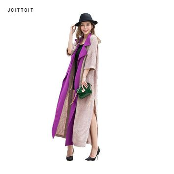 Women Spring Summer Trench Coat 2017 Fashion Office Ladies Color Patchwork  Long Trench Coat Women X Long Trench Coat