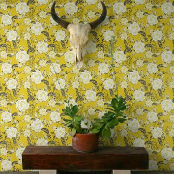 Vinatge Gareden Rose Pattern Wallpaper/Removable Wallpaper/Vintage Wall Decal/Rose Wall Sticker/Garden Rose Self Adhesive Wallpaper