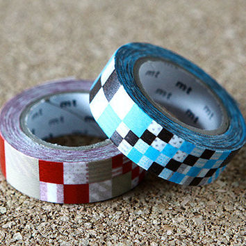 Mix Colorful Tapes - Japanese Washi Paper Masking Tape -  2 Rolls Set - mt Deco 2 Pack, Red & Blue, Scrapbooking, Collage, Gift Wrapping
