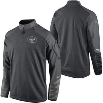 New York Jets Nike Platinum Fly Rush 2.0 Pullover Performance Jacket – Charcoal - http://www.shareasale.com/m-pr.cfm?merchantID=7124&userID=1042934&productID=551045569 / New York Jets