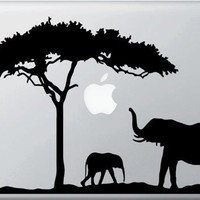 Mom and Baby Elephant Design 2 - Macbook or Laptop Decal Sticker