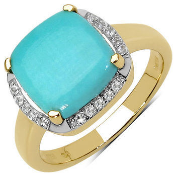 14K Yellow Gold Plated 3.38 Carat Genuine Turquoise & White Topaz .925 Sterling Silver Ring