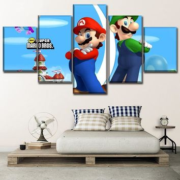 Canvas Game Poster Wall Art Framework 5 Piece Super Mario Bros Classic Cartoon Painting HD Printed Type Pictures For Kids Room