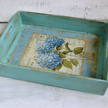 Serving tray, Shabby chic serving tray, Wood tray, Kitchen tray, Ottoman tray, Coffee table tray, Decoupage tray