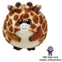 TY Beanie Ballz - TIPPY The Giraffe Small w/Free Baby Sock Monkey: Toys & Games