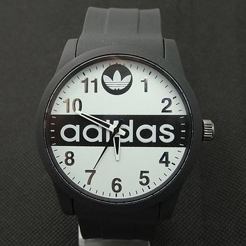 ADIDAS tide brand men and women fashion tape watch F-SBHY-WSL Black watchband + black shell + white dial