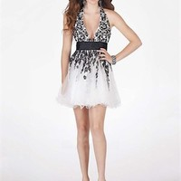 Short Halter Strap Top Lace White and Black Prom Dress PD1912