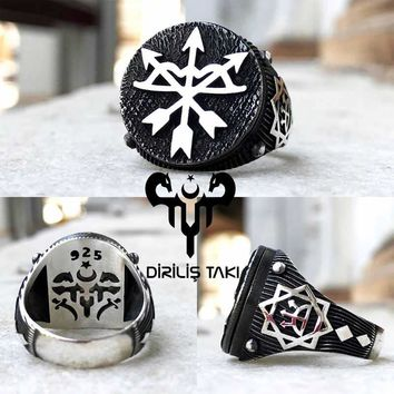 Arrow bow arc david star sterling silver mens ring