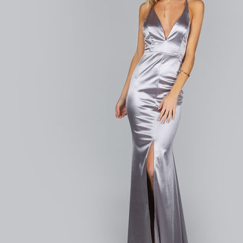 Satin Fit n Flow Maxi Dress SILVER | MakeMeChic.COM