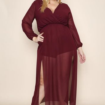Flowy Ballon Sleeves Romper Plus Size Maxi Dress