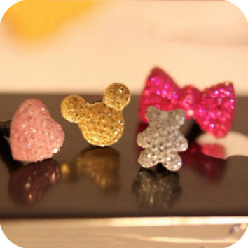 20pcs/lot Acrylic Diamond Candy color dust plug mickey bow heart star headphone jack plugs for iphone 4s 5s SE 6 6s plus 6plus