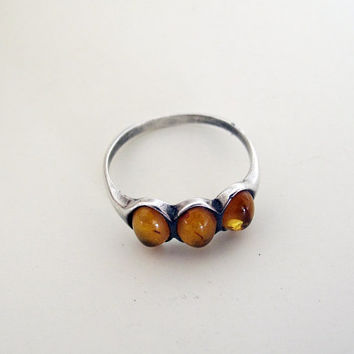 sterling silver ring / amber ring / raw amber ring / rock ring / mineral ring / boho ring / amber jewelry/gypsy
