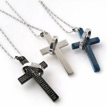 ONETOW The bible cross ring ring necklace, titanium steel men's stainless steel necklace, cross necklace man lovers necklace(With Thanksgiving&Christmas Gift Boxï¼?[8824510471]