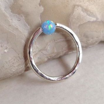 Captive Fire Opal Bead Hammered Septum,Upper Ear Daith Rook,Tragus,Cartilage