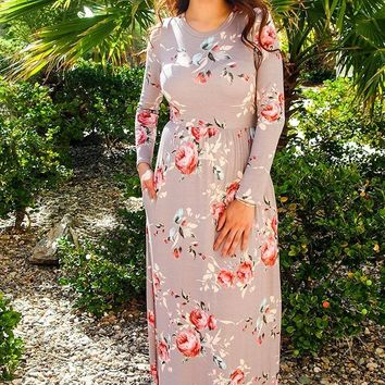 Everything For You Beige Floral Print Long Sleeve Maxi Dress
