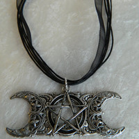 PENTAGRAM - Triple Moon Goddess Necklace by Crow Haven Road