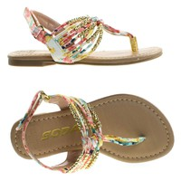 SonjaIIs Pink Flower Children Girls Thong Flat Sandal w Tribal Print & Metal Bead. Kid Shoe