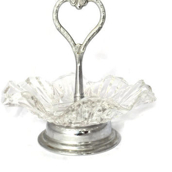 Vintage Glass Ruffled Edge Candy Dish |  Mint Bowl |  Nut Dish with Silver Heart Shaped Center Handle