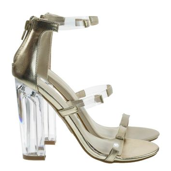 Hyphen07s Gold By Bamboo, Lucite Sandal w Perspex High Block Heel Transparent Strap