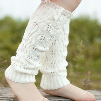 Girls Buttons & Lace Leg Warmers