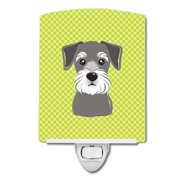 Checkerboard Lime Green Schnauzer Ceramic Night Light BB1268CNL