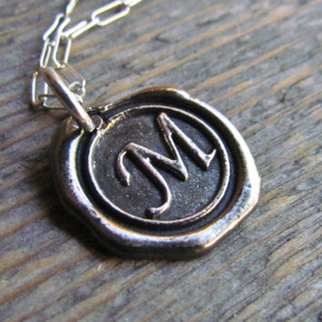 Letter Initial Necklace Sterling Silver Chain Antiqued Metal Charm Wax Seal Letters Bridesmaid Gift Wedding New Mom Mother Alphabet