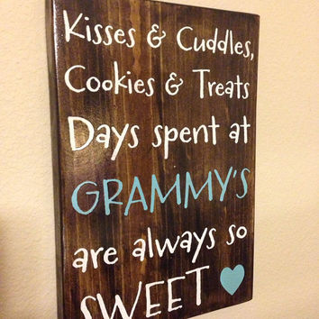 "Mother/Grandmother Sign - ""Kisses & Cuddles"""