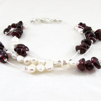 Garnet and pearl bracelet, freshwater pearl  and garnet chips on silver plated flexible wire , garnet bridal bracelet , UK seller