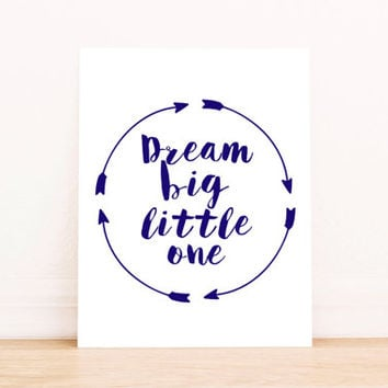 Nursery Art Printable Dream Big Little One Wall Art Hot Air Balloon Watercolor Navy Blue Typography Print Kids Room Decor Children Room Gift
