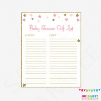 Twinkle Twinkle Little Star Baby Shower Gift List, Pink Gold Baby Shower, Printable Baby Shower Gift List, Girl Baby Shower Gift List, STPG
