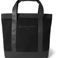 Balenciaga Canvas & Leather Tote, Noir Black