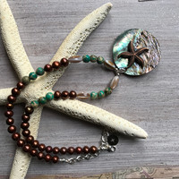 Abalone Shell Pendant Necklace handcrafted with Turquoise Jasper, Brown Salt Water Pearls and Mother of Pearl.
