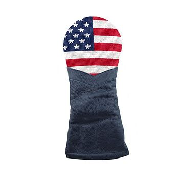 Big American Flag Needlepoint Fairway Wood Headcover by Smathers & Branson