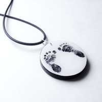 Child Footprint Remembrance Necklace Made to Order - Memorial Jewelry - Custom Photo to Painting