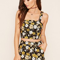 Buttoned Floral Mini Skirt