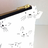 Cat Makeup Bag, Cat Cosmetic Case, Cosmetic Bag, Zipper Bag, Toiletry Bag, Essentials Bag, Large Makeup Bag, Bridesmaid Gift