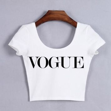 DCCKHY9 Women VOGUE Crop Tops Girl Sexy Cropped Tops Short Sleeve Funny Tank Top White/Black tees Funny t shirt
