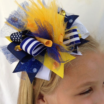 Blue and yellow/gold hair bow team bow cheer bow