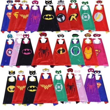 Classic kids superhero capes with masks double layers batman cape for children birthday party halloween cosplay costumes 70*70cm