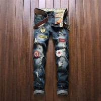 Men Ripped Holes Rinsed Denim Jeans [10766086019]