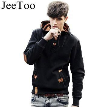 JeeToo Men Hoodies Fleece Fashion Hip Hop Warm Hoody Polo Mens Hoody Jacket Sweatshirt