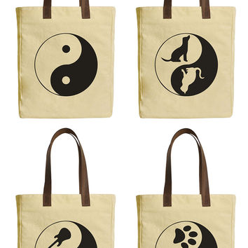 Yin Yang Collection Beige Print Canvas Tote Bags Leather Handles WAS_30