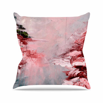 "Ebi Emporium ""Winter Dreamland 5"" Red Gray Outdoor Throw Pillow"