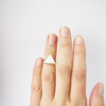 Knuckle white triangle ring . Geo ring.  Listing for 1  one ring