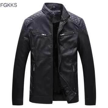 FGKKS Mens Faux Leather Jacket Washed Fleece Motorcycle Casual Stand Collar Fashion Winter Jacket Men Casual Coat Male