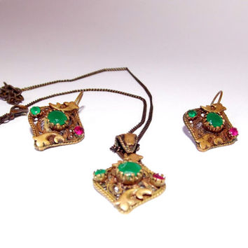 Jewelry set, Pendant & earring, Vintage jewelry set, Copper jewelry set, Jewelry with natural stones, Emerald, ruby, Jewelry handmade