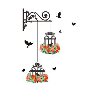 Wall Stickers Birdcage Decorative Painting Art Murals Wall Decals Bedroom Living Room TV Background Home Decor